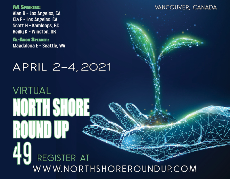 Digital drawing of a hand with a tree growing out of the palm of the hand. 49th North Shore Round Up, April 2-4, 2021